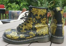 RARE Women's Dr Martens 1460 Black Leather Graffiti Boot Size 8 US