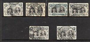 Rhodesia (6990)1910 King George V / Queen Mary Double Heads 6 x 2d Black/Grey