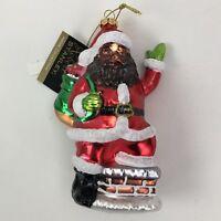 "Robert Stanley Christmas Glass Ornament 6"" NWT African American Black Santa"