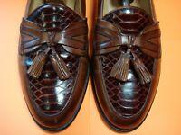 Men's Dress Shoes JOHNSTON & MURPHY Loafers Sz 10 M Brown Leather CROC GATOR