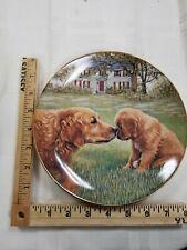 """Danbury Mint Golden Retriever Dog Golden Moment Collector Plate - 8"""""""