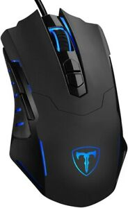PICTEK Gaming Mouse, Wired USB, 7200 DPI, 7 Programmable Buttons, Blue Light