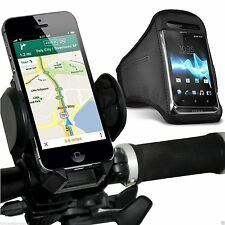 Quality Bike Bicycle Handlebar Phone Holder+Sports Armband Case Cover✔Black