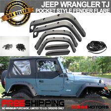 98-06 Jeep Wrangler Tj Fender Flares Pocket Style Black ABS Protector Cover 6Pcs