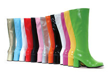 White Go Go Dancer Mod 60s 70s Hippie Knee High Halloween Costume Boots 7 8 9 10