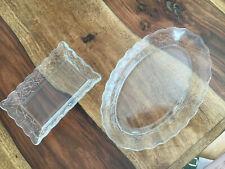 2 x Süße Glas Tellerchen, Servierplatten mit Blumenranken
