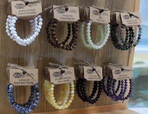 POWER BRACELET  Beads Stretch Elasticated Crystal Semi Precious Gemstone Costume