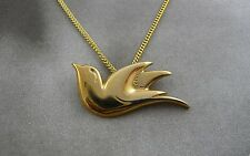 Scottish Ola Gorie 9ct Yellow Gold Lovebird Dove Pendant Chain Bird
