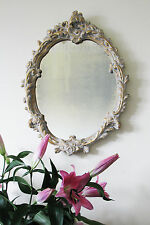 Large Distressed Oval Rococo Mirror Gilded Shabby Chic Foxed