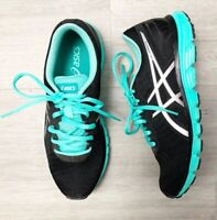 ASICS Gel-Zaraca S ladies Trainers Green Black Lace Up Sz 6.5 Running Gym