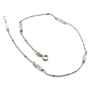 """18K WHITE GOLD ANKLET 9.8"""" 25cm WITH FACETED AQUAMARINE DIAMETER 3mm"""