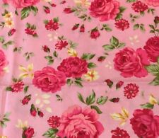 Pink  Fabric Pink Rose Flowers Fat Quarter