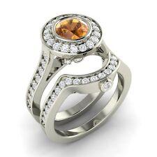 Certified 1.79 CTW Citrine & Diamond 14K White Gold Engagement Bridal Ring Set