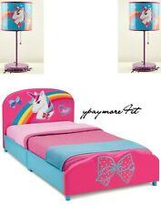 JoJo Unicorn Siwa Upholstered Twin Bed by Delta + 2 JoJo Siwa Unicorn Lamps