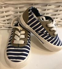 Joules Uk Size  5  Shoes Coast Pump Blue Striped Canvas Lace Up Fastening Unused