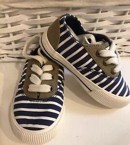 Joules Kids Uk Size 5 Shoes Coast Pump Navy Blue Striped Canvas Lace Up Unused