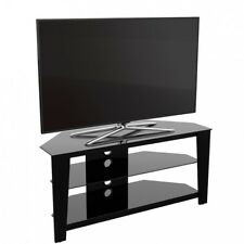 "Gloss Black Glass Corner TV Stand 32"" - 55"" LED LCD HD 4K Television - 100cm"