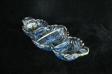 """CAMBRIDGE GLASS CAPRICE BLUE STERLING SILVER ROCKWELL OVERLAY # 126 12"""" RELISH"""