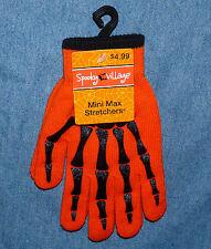 Mini Max Stretchers - orange with black skeleton design gloves - HALLOWEEN NWT