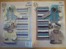"BABY BOY BLANKET CARDIGANS & HAT  DK KNITTING PATTERN 14-22"" KING COLE 4889"