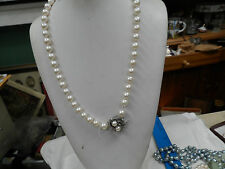 ANTIQUE 9MM ESTATE DIAMOND CULTURED PEARL NECKLACE CIRCA 1940 14KT WITH DIAMONDS