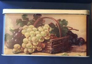 Vintage Tin Metal Biscuit Box Container Grapes Design