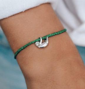 Pura Vida Save the Sloths Charm Green Silver Sloth Bracelet