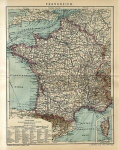 1910 FRANCE CORSICA Antique Map dated