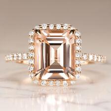 2.7ct EMERALD CUT PEACH MORGANITE 0.62c DIAMOND ENGAGEMENT RING HALO ROSE GOLD