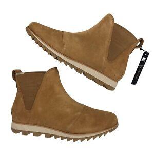 Sorel Boots 7 Womens Leather Camel Tan Waterproof Ankle Chelsea Harlow Booties