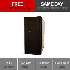 12U Server Rack Data Network Cabinet Double Side 19 inch 570 x 300mm Black