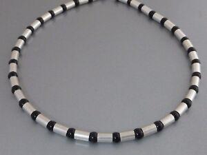 Echte 925 Silber Halskette Collier Onyx schwarz Biker Herren breite kurze 6 mm