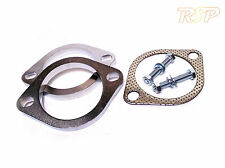 "2 x Universal 3"" Inch 76mm 2 Bolt Steel Exhaust Flange Join + Gasket & Bolts"