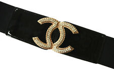 Fashion Ladies Wide Elastic Stretches Waist Belt Gold Diamante Buckle 4 colors
