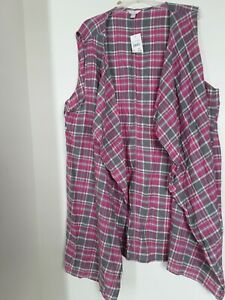 Est. 1946 Plaid Womens Open Shirt Pink Gray Size 26/28 100% Cotton NEW