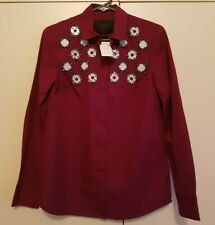 BNWT J Crew Maroon Button Collared Shirt with Crystal Embellishments in size 0