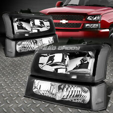 EURO BLACK HOUSING HEADLIGHT CLEAR CORNER BUMPER LAMP FOR 03-06 CHEVY SILVERADO