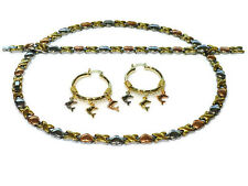 Hugs & Kisses Necklace 3 Tone Bracelet Hoops Set XO tri color Dolphin Earrings