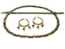 3 Tone Hugs & Kisses Necklace Bracelet Hoops Set (Dolphin Earrings) XO tri color
