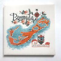 Vintage Bermuda Map Tile Trivet Souvenir Wall Decor Kitchen Orange Blue