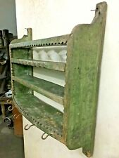 OLD VINTAGE WOODEN  KITCHEN SHELF,RUSTIC WALL UNIT & HOOK DISPLAY SPICE RACK