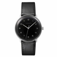 Junghans 027/3400.00 Max Bill 38mm Automatic Black Dial Leather Strap Watch