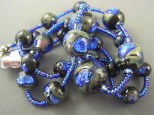Antique c.1900 Grey & Cobalt Blue Peacock Eye Foil Glass Bead Necklace RARE