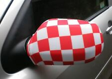 CAR WING MIRROR SOCKS FLAGS, COVERS, FLAG-UPS! - RED/WHITE CHECK CHEQUERED