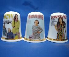 Birchcroft China Thimbles -- Set of Three -- Sewing Magazines