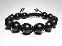 MENS MATTE BLACK ONYX Gemstone Beads Shambhala Yoga Mala Beaded Jewelry Bracelet