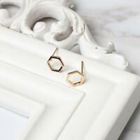 Silver/Gold Tone Hexagon Earrings Geometric Shape Studs Women's Jewelry Gift
