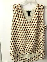 White House Black Market Size Medium M Silk Sleeveless Top V Neck Beige Brown