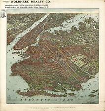 1908 Map Panoramic Bird's-eye-view of Brooklyn Wall Art Poster Print Genealogy