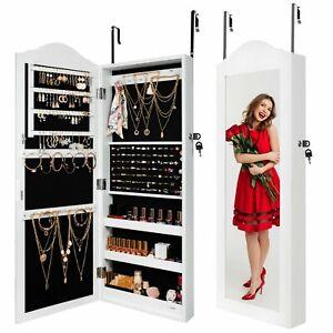 Ezigoo Jewellery Cabinet/Organizer with Over the Door Mirror & Internal Storage